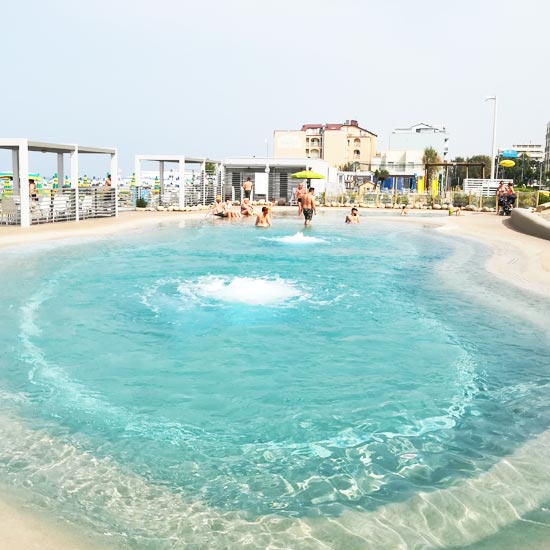 The swimming pool on the beach